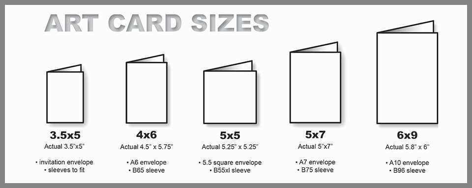 Sizes of our greeting cards